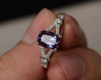 Lab Alexandrite Ring Sterling Silver Split Shank Engagement Ring Cushion Cut Alexandrite