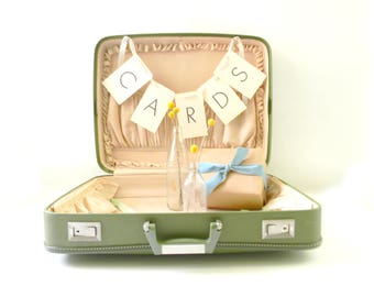 Vintage Blush Pink & Green Suitcase/ Wedding Card Holder