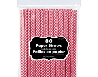 Big 80ct Pack Red Gingham Picnic Print Paper Drinking Straws
