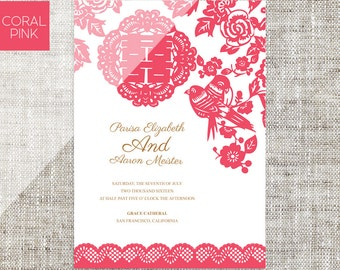 Diy printable editable korean wedding invitation card diy printable editable chinese wedding invitation card template instant downloadcoral paper cut lace traditional stopboris Choice Image
