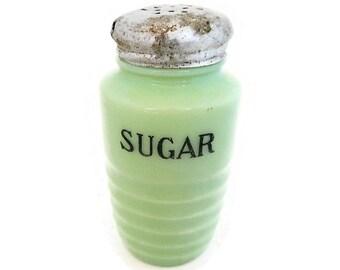 Vintage Jeannette Jadite Sugar Shaker - jadeite, mint green, milk glass, round, beehive, 8 oz, original lid, spice, collectible, authentic