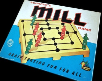 Vintage Schaper's Mill Game, Morelles, Nine Men's Morris  - 1960s - No. 106, in box - 2 players, strategy game, family game night