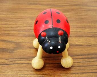 Vintage Wood Ladybug Shaped Massage Stress Lease Tool Ladybug Figurine
