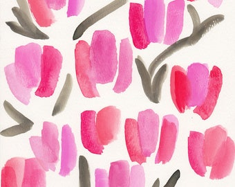Abstract Tulip Print on Linen Paper