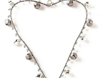 Pretty Silver Heart With Festive Bells