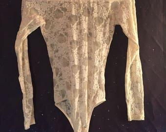 Vintage Ivory Lace Floral Long Sleeve Bodysuit