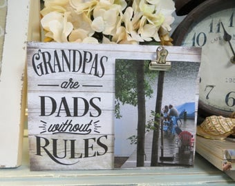 """Wood Frame, """"Grandpas are Dads Without Rules"""", Grandpa Picture Frame, Father's Day Gift, Granddad Frame, Granddad Gift,"""