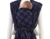 Woven Baby Wrap Carrier - Daiesu Kelarai Royale - Blue black Organic Woven Wrap Baby Carrier, infant to toddler carrier, new mom gift
