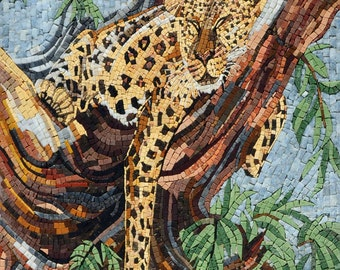 Cheetah sleeping on a tree branch Marble mosaic