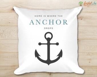 Nautical Throw Pillow, Decorative Pillow, Accent Pillow, Anchor Pillow, Pillow Cover, Home Decor, Housewarming Gift