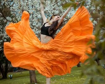 Boho skirt, gypsy dance skirt, tribal skirt, 25 yards skirt, flamenco skirt 'Orange'