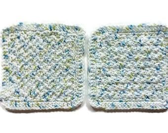 Hand Crocheted Washcloth Set/ Cotton Washcloth/ Kitchen Crochet Dishcloths/ Bridal Shower/ Housewarming Gift/ Cotton Washcloth Set/ Crochet