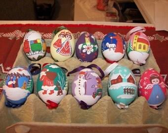 Egg Shells handpainted Ornaments box of 10 asstd Handmade in Austria