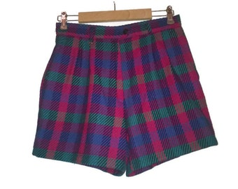 Vintage 80s Shorts Plaid Pink Bluegreen shorts Highwaist Shorts VINTAGE 80s SHORTS highwaist Cropped Vintage pants s Hipster Shorts S