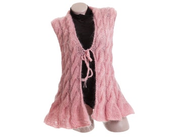 Pink mohair cardigan sweater, Cable knit vest, Fluffy womens sweater, Mohair cardigan, Cable knit cardigan, Mohair sweater