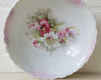 Beaituful Antique German Bowl Pink Floral Shabby Chic
