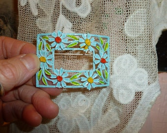 Vintage Rectangle Brooch With Flowers From The 1960's