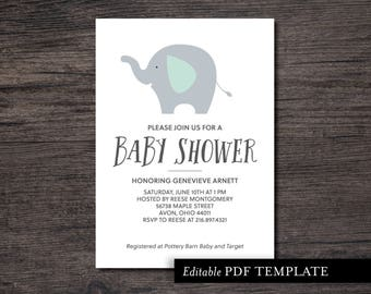 Grey Elephant Baby Shower Invitation Template | Elephant Shower Invitation | Editable PDF Invite | Baby Shower Printable | Instant Download