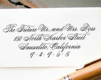 Custom Calligraphy Return Address Stamp, Self-Inking Wedding Calligraphy Stamp, Custom Envelope Addressing