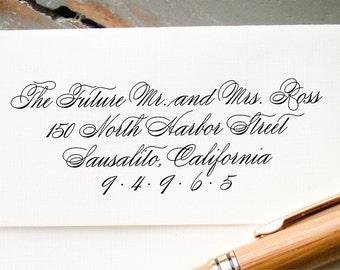 Custom Calligraphy Return Address Stamp, Self-Inking Wedding Calligraphy Stamp, Custom Envelope Addressing