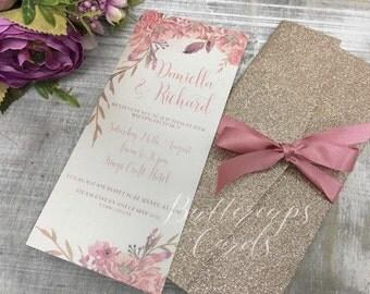 Glitter Pocketfold Invitation, Champagne glitter invitation, Champagne and blush pink wedding invitation, glitter invitation, glitter invite