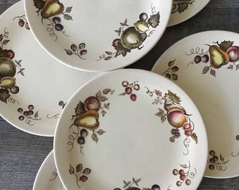 Vintage Johnson Brothers Dinner Plates, Johnson Bros Orchard, Old Granite, fruit plates, transferware plates, Fall decor, plates with fruit