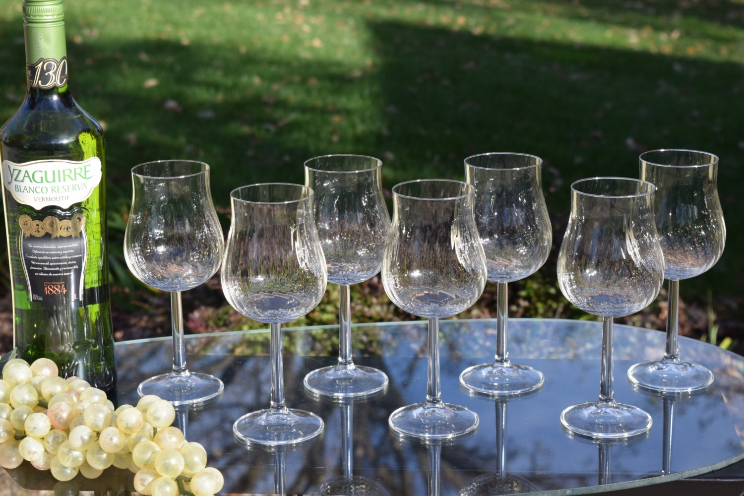 Vintage Swirled Optic Wine Glasses Set Of 7 Unique