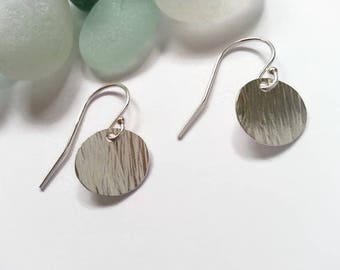 Hammered Bark Texture Silver Disc Earrings. Silver disk earrings. Textured silver circle earrings. Artisan earrings. Gift idea for her UK