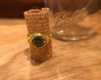 Luck O The Irish Green and Gold Wire Wrapped Ring