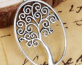 Tree Of Life Pendants - 5/10/20 Wholesale Antiqued Silver Plated Charm Findings C5495