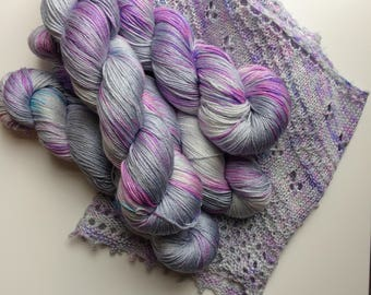NEW edition Hand dyed yarn 4ply finger weight merino and silk 100g. In Jellyfish. Non mulesed ethically sourced.