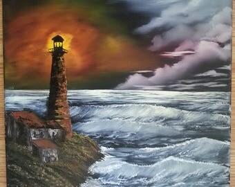 Lighthouse - Oil on Canvas