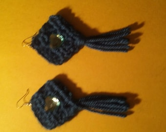 Beautiful blue crocheted earrings