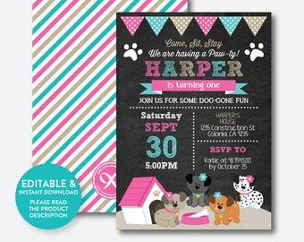 Instant Download, Editable Puppy Birthday Invitation, Dog Birthday Invitation, Dog Invitation, Puppy Invitation, Pink, Chalkboard (CKB.290B)