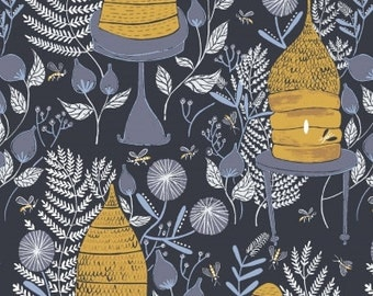 Honey Bee - Beehive - Blue Fabric by Rae Ritchie for Dear Stella - by the half yard - 100% cotton
