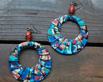 Wire wrapped Tribal Print earrings, Blue Earrings, Wire Wrapped Earrings