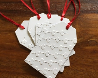 Hand made Embossed Christmas/Holiday Gift Tags. Heart lines (5 tags). Free AU Shipping