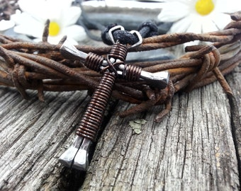 Mens Cross Necklace, Cross Necklace, Horseshoe Nail Cross, Nail Cross Necklace, Cross Necklace, Cross Necklace Men, Chocolate- CH1