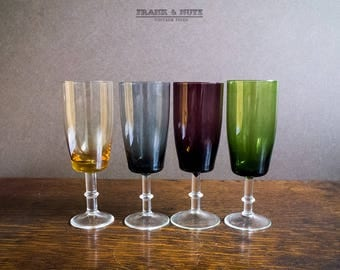 Vintage set of 4 colored liquor glasses, sherry  glasses, tall slender design,attractive foot, shabby chic, classic design, mid-century