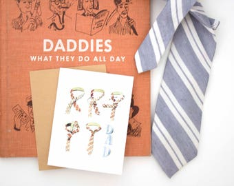 Father's Day card   tie, religious, christian, inspirational, stripes, navy, masculine