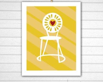 "Memorial Union Print, UW Madison, Memorial Union Chair : 8x10"" Instant Download"