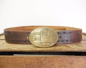 Vintage 1976 O'Farrell Jones Brass Buckle San Francisco Cable Car Belt by Hencel