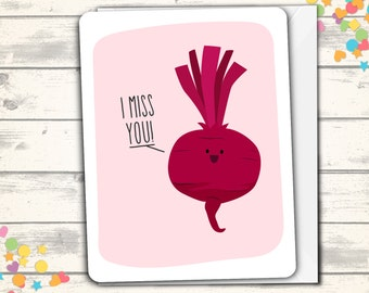 Miss You Little Beet Card, Silly Vegetable Pun Greeting Card, Missing You Note, Miss You So Much Card, Silly Missing You Card for Boyfriend