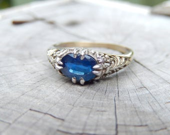 Antique Natural SAPPHIRE Cornflower Blue 1.00CT White Gold Ring Filigree 1920 Downton Abbey  Edwardian Art Nouveau Deco