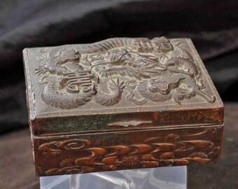 Antique / Vintage Chinese  Dragon Cigarette Box