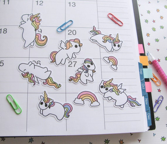 Unicorn Stickers, Pegasus Stickers, Rainbow Horse Stickers, Cute Pony Stickers, Rainbow Ponies, Sticker Flakes, Scrapbooking, Planner