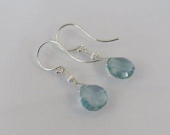 Aquamarine Earrings in Sterling Silver, March Birthstone Gift, Birthstone Jewelry, Aquamarine Gemstone Briolettes, Bride, Wedding Jewelry