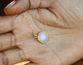 Iridescent Necklace, 14K Gold Filled Chain, Gold Necklace, Opalite Jewelry, Opalite Pendant, Opalite Necklace, Iridescent Jewelry