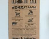 Antique Estate Sale Livestock Farm Seed Machinery Poster 1941