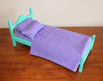"American Girl bed, Teal AG bed, AG doll Furniture, 18 inch doll furniture, 18"" doll bed, 18 inch doll bed, 18"" bed, doll bed, wood bed"